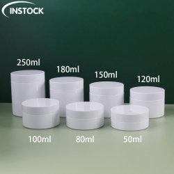 Customed White Pet 50/80/100/120/150/180/250 ml vide des conteneurs en plastique cosmétique de l'oeil des pots de crème de soin visage cosmétiques corps cosmétiques Portable pots d'emballage