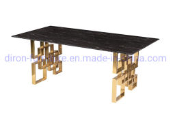 Mobili Foshan acciaio inossidabile rettangolato tavolo da pranzo temperato