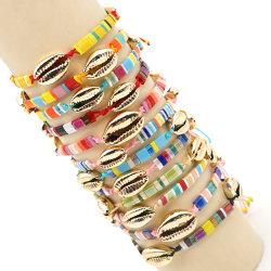 Mlgm Caracol Tila pulseras para Mujeres Hombres par Joyas joyas de oro clásico regalo Pulseras con reborde de verano en la playa de estiramiento Pulsera Arco Iris 2021 Comercio al por mayor