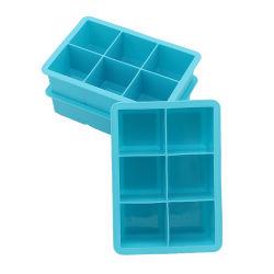 6 Hohlräume Silikon-Quadratische Eiswürfelschale