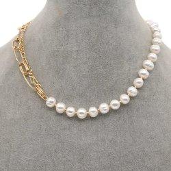 Mlgm collier de perles d'eau douce pour femmes mode perçage bijoux fins Nouveau branché 18K plaqué or bijoux Cuban lien chaînes colliers Pour votre maman