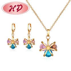 Ring-Armband-Charme-Schmucksachen der Kostüm-Form-14K 18K Gold überzogene nachgemachte mit hängenden Halsketten-Ohrring-Sets für Frauen