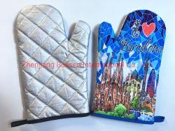 Impresión personalizada algodón poliéster baratos Guante de horno de microondas manoplas guante