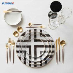 Paibeeの陶磁器の版一定のブレイクおよび白いディナー用大皿のホームベースの骨灰磁器のディナー用大皿