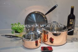 Cobre Tri-Ply/Acero Inoxidable utensilios de cocina con mango de silicona, ollas y sartenes, utensilios de cocina,