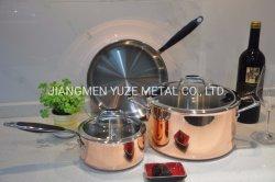 セットされるシリコーンのハンドル、鍋および鍋台所道具が付いている三重に銅かステンレス鋼の調理器具