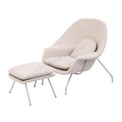 Tejido de fibra de vidrio vientre silla con otomana con diseño de Eero Saarinen