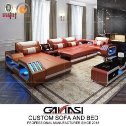 ベッド(G8046)が付いている現代本革のスペース節約の家具のリクライニングチェアのソファー