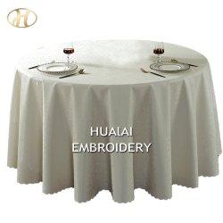 ホテルのための卸し売りPVC白い円形の防水ファブリック端のテーブル掛けの布