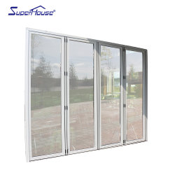 عزل صوتي ممتاز نافذة حديثة وطي PVC منزلق الباب الزجاجي