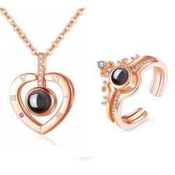 Je vous aime Necklace 100 Langues Heart Love Necklace l'amour de la mémoire Jeu de bijoux de projection pour les femmes de dons pour la Fête des Mères