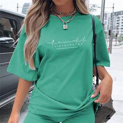 새로운 디자인 특대형 무료 배송 맞춤형 트랙슈트 단색 여성용 유니폼은 반팔 바이커 반바지 세트로 여성용