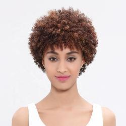 Comercio al por mayor Cabello peluca afro brasileña Kinky Curly pelucas para las mujeres negras no delantera de encaje pelucas cabello humano.