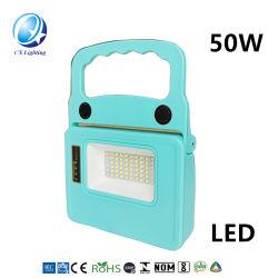 50W 18650 Removível solar e bateria de lítio da luz de trabalho portátil multifuncional