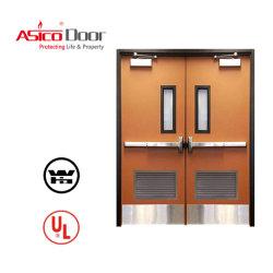 Высоким рейтингом Quatity огонь стальные двери с помощью жалюзи Сертификация UL