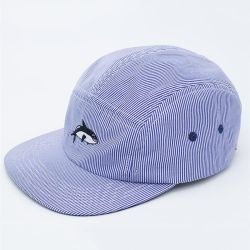コットン 100% のカスタム 5 パネルストライプ刺繍入り帽子レジャーキャンプ ファッションレジャーキャップハット