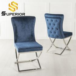 Casa moderna mobília de sala de jantar Azul Marinho Cadeira Restaurante Veludo