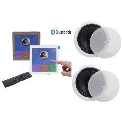 Intelligenter Hauptdrahtloser Touch Screen der musik-2-CH Bluetooth im Wand-Audioverstärker mit USB, FM Radio mit 2 Stücken Decken-Lautsprechern