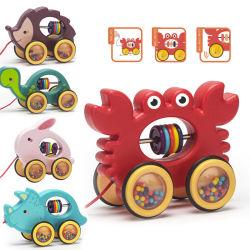 Puxando de madeira carro brinquedo para crianças de ensino aprendizagem precoce Toy Car a aprendizagem de cores do arco-íris anéis o brinquedo as Crianças Seguras de brinquedos a caixa de armazenamento de brinquedos para bebés