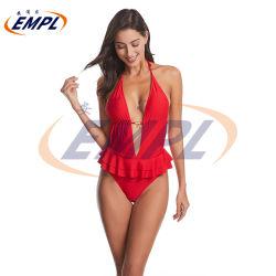 Bikini dello Swimwear delle donne increspato costume da bagno di un pezzo dei vestiti di bagno delle donne