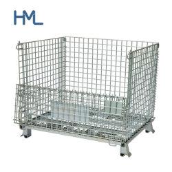 Contenitori portatili resistenti galvanizzati saldati della gabbia della maglia del filo di acciaio di trasporto di memoria accatastabile pieghevole