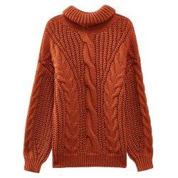 2021 OEM Custom nueva llegada de más de las mujeres de tamaño de los suéteres Turtleneck Anti-Pilling suéter tejido Jacquard suéter de lana pura de la mujer