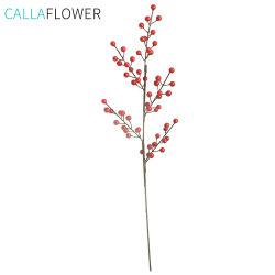 As flores de Natal Cinco Branch Holly frutos artificiais para decoração MW36892