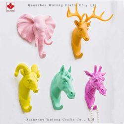 OEM-Полимер ремесел интерьер красочные животных крюк на стене