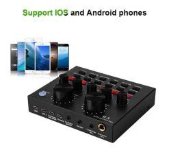 V8 Live Sound multifonction Interface Audio USB de carte intelligente du volume Audio Mixer réglable carte son pour diffusion en direct