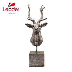Cabeça de veado Polyresin Figurine com Base para decoração