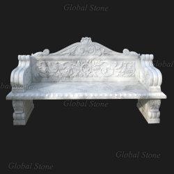 Lado entalhado mármore banco de jardim para decoração (GSBH-500)