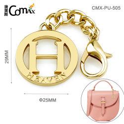 Fashion Hot Sale Lettre H forme ronde en métal creux Tags, Custom étiquette métallique de la plaque avec crochet et de la chaîne pour les sacs