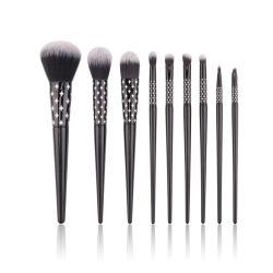Черный цвет деревянной ручкой продуктов 9PCS Комплект щеток для макияжа с лазерной печати с обжимным кольцом