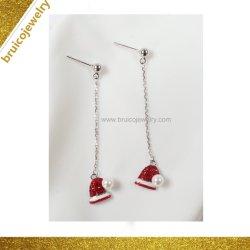 Cordon d'or colorés de la mode avec Noël Hat Pendentif Bijoux Ruby Drop Earring pour les filles