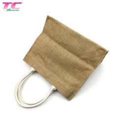 Grand Shopper Shopping réutilisables sac fourre-tout le linge de jute avec poignée de cuir