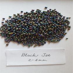 Commerce de gros 2-4mm noir Jet Bijoux en perles de verre comme Cordon/rideaux