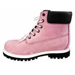 Medio de cuero auténtico talón Rosa Puntera Goodyear Welted zapatos de mujer