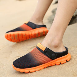 Мужчины обувь дрсуга летом сетка тапочки мода для использования вне помещений дышащий случайных пару Бич благоухающем курорте обувь Бич опорной части юбки поршня