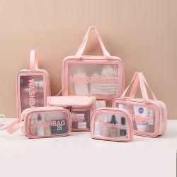 맞춤형 로고 트래블 투명 비닐 방수 비치 지퍼 화장품 가방 핸들로 투명 TPU PVC 화장실 휴지 맞춤