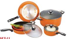 Non-Stick utensilios de cocina establecido K12set-11 (bote de salsa/freír pan/olla)