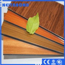 Hot Sale PE PVDF panneau composite en aluminium à revêtement en bois, décoratif matériaux du mur du bâtiment