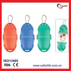 Scatola di plastica piccola di vendita superiore della pillola con la catena chiave