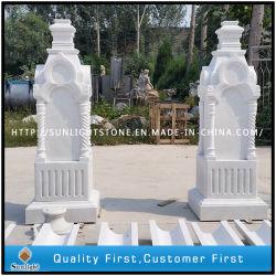 Stenen Indoor White Marble Solid Columns met Carving