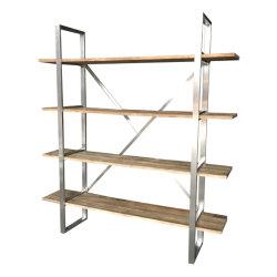 De stevige Boekenkast van de Boekenplank van het Roestvrij staal van het Hout en van het Metaal