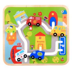 Coche de juguete de madera para niños de 2 años con el aprendizaje de la educación de la placa de madera juguete vehículo modelo de coche Juego de juego para niños en edad preescolar Los niños bebés niñas niños