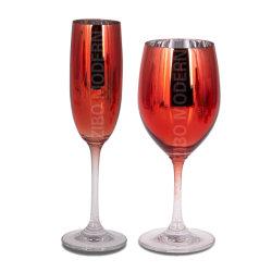 Несколько металлических очков вина цветной печати - коктейль очки вытекает Goblets - Stemware