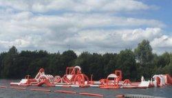 Juegos de flotación inflable gigante gorila agua Aqua Park carrera de obstáculos al mar