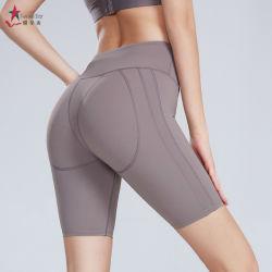 La mujer cintura alta Yoga Ejercicios de control de barriguita cortos que ejecuta el Athletic pantalones cortos pantalones cortos de Yoga Yoga flexible