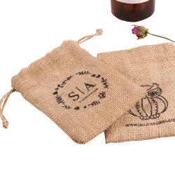 Jutefaserdrawstring-Beutel, fördernder Großverkauf passen gedruckte kleiner Segeltuch-Zeichenkette-Musselin-Kaliko-natürliche Tuch-Gewebe-Schmucksache-Uhr-Wein-Geschenk-Einkaufstasche an