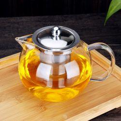 650/950ml de vidro transparente Chá Pot com aço inoxidável filtrar
